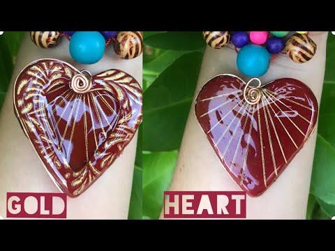 "Wire Clay Resin Pendant.""Gold Heart"". Jewelry Tutorial. Arcilla Polimerica"