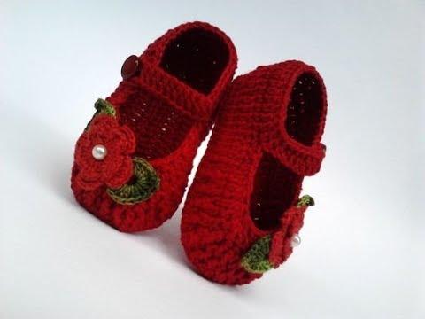 Loco Corea A escala nacional  Zapatos a crochet para bebe -modelo carmen-tejido -baby shoes - YouTube