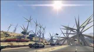 GTA V HIGHWAY CARNAGE! endeavor mod wind turbines on highway!