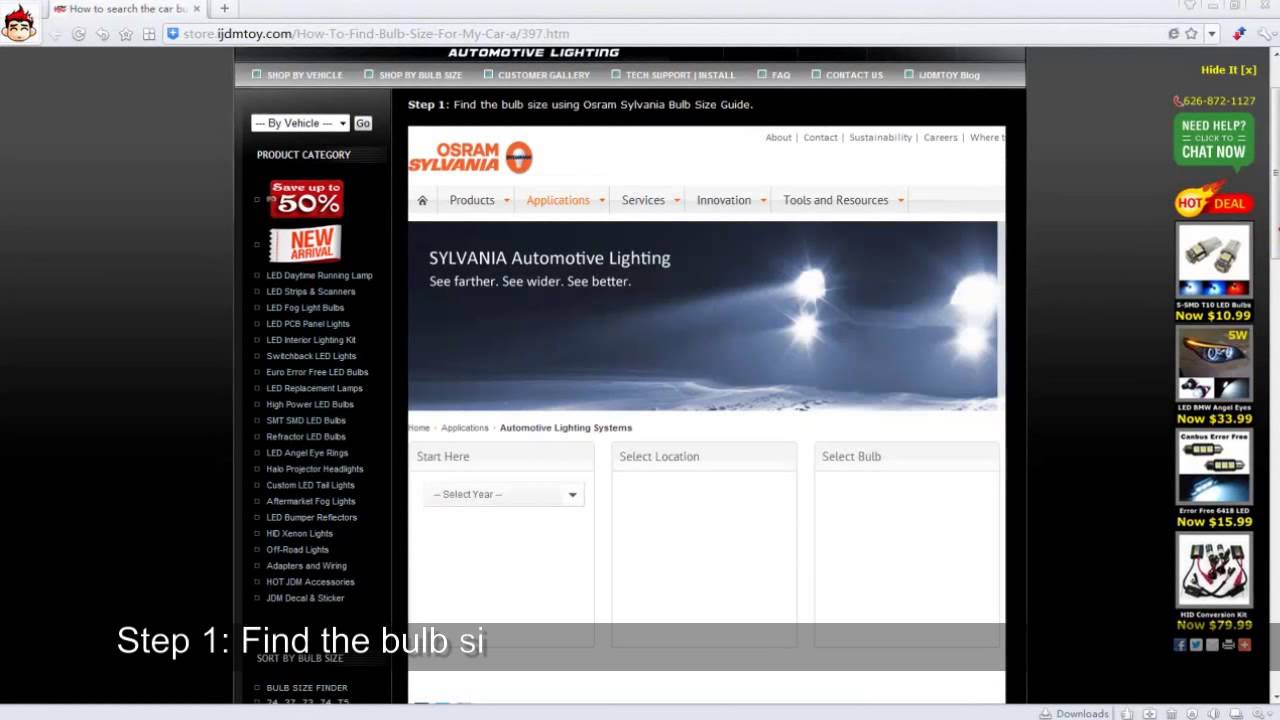 Sylvania Automotive Bulb Guide >> Find The Bulb Size Using Osram Sylvania Bulb Size Guide
