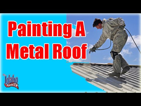 painting-a-metal-roof.-painting-with-an-airless-paint-sprayer.