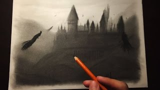 Drawing Hogwarts Castle and Dementors