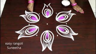 Festival color kolam with 5 dots    easy n simple Lotus rangoli designs    new muggulu
