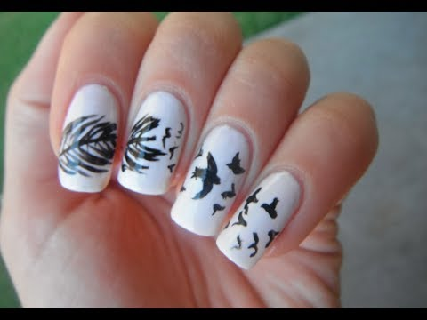 Birds and feather nail art tutorial - Birds And Feather Nail Art Tutorial - YouTube