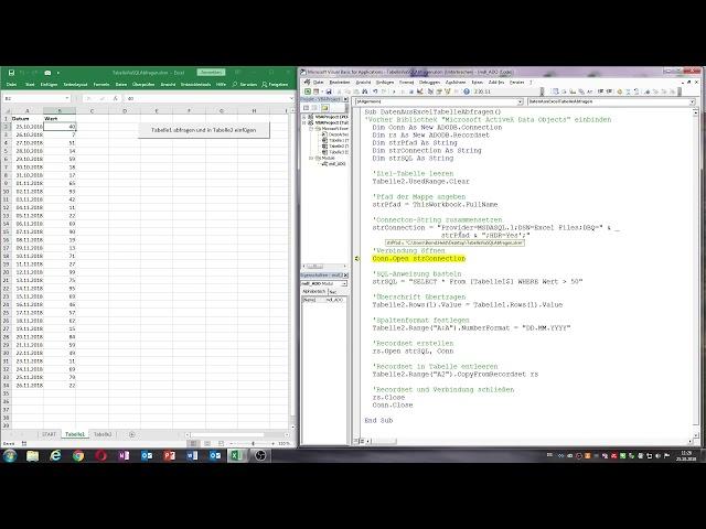 0044. Excel-VBA: Bestimmte Zeilen einer Tabelle via SQL abfragen (blitzschnell)
