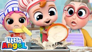 Baking with Grandma | Pat a Cake Song | Little Angel Kid Songs & Nursery Rhymes