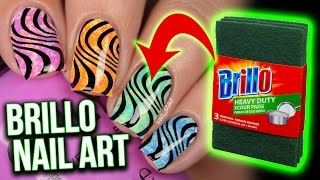 EASY Brillo Pad Nail Art HACK?! For Beginners! with bonus stamping