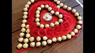 DIY Ferrero Rocher Herzplatte zum selber basteln. Für besondere Anlässe wie Valentinstag/Muttertag
