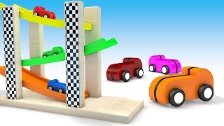 Colors for Children Wooden Toy Cars Sliders ToySet 3D Kids Learning Videos Education For Toddler