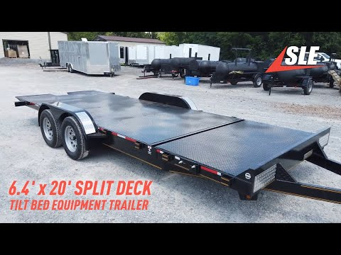 Equipment Trailer 6.4' X 20' Split Deck Tilt Bed Car Hauler