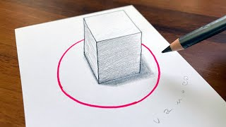 Drawing 3D cube in the circle - How to draw easy 3D illusion - Minimal art