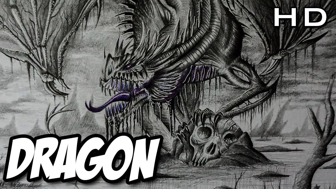 Dibujo épico De Un Dragón Realista A Lápiz Versión Rápida Youtube