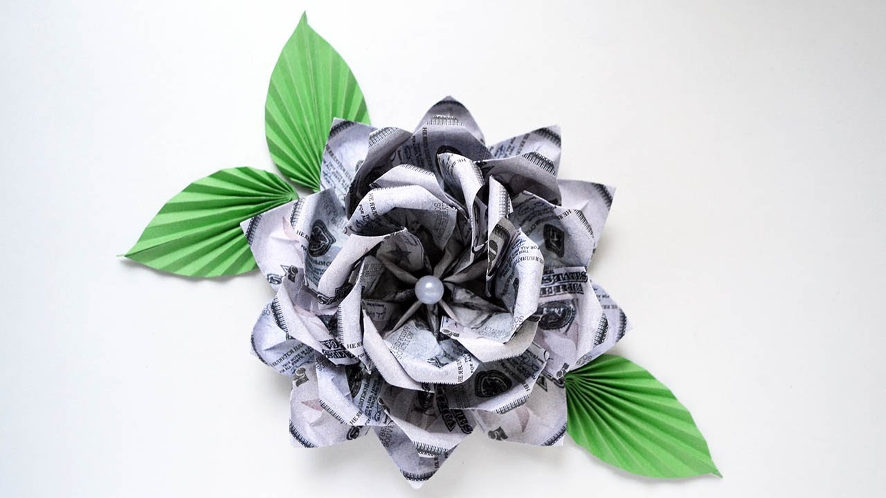 How to make a money origami rose out of Dollar bills 🌹 EASY - YouTube | 720x1280