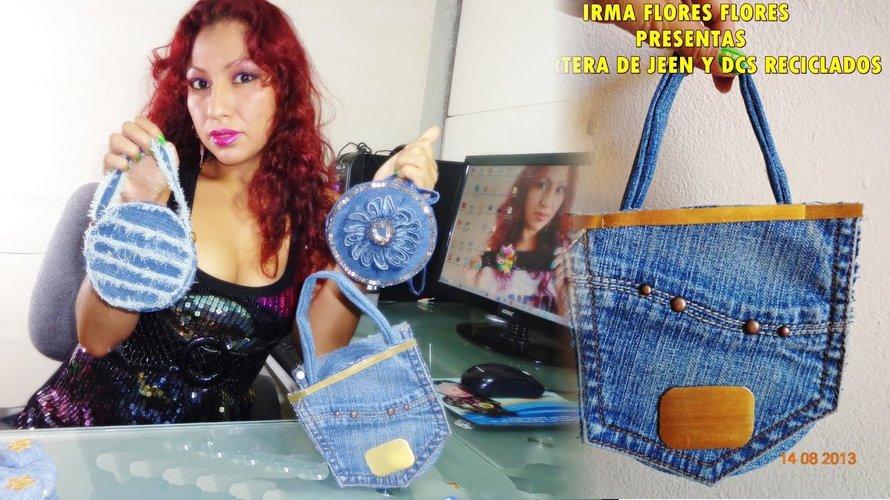 CARTERAS DE JEANS Y CDS RECICLADOS PASO A PASO - YouTube