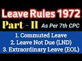 CCS Leave Rules 1972_Commuted Leave, Leave Not Due (LND), Extraordinary Leave(ExOL) Rules for CG Emp