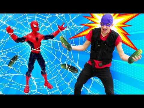 Видео приколы - Человек Паук и новый Супергерой! - Игры для мальчиков в видео шоу Фабрика Героев