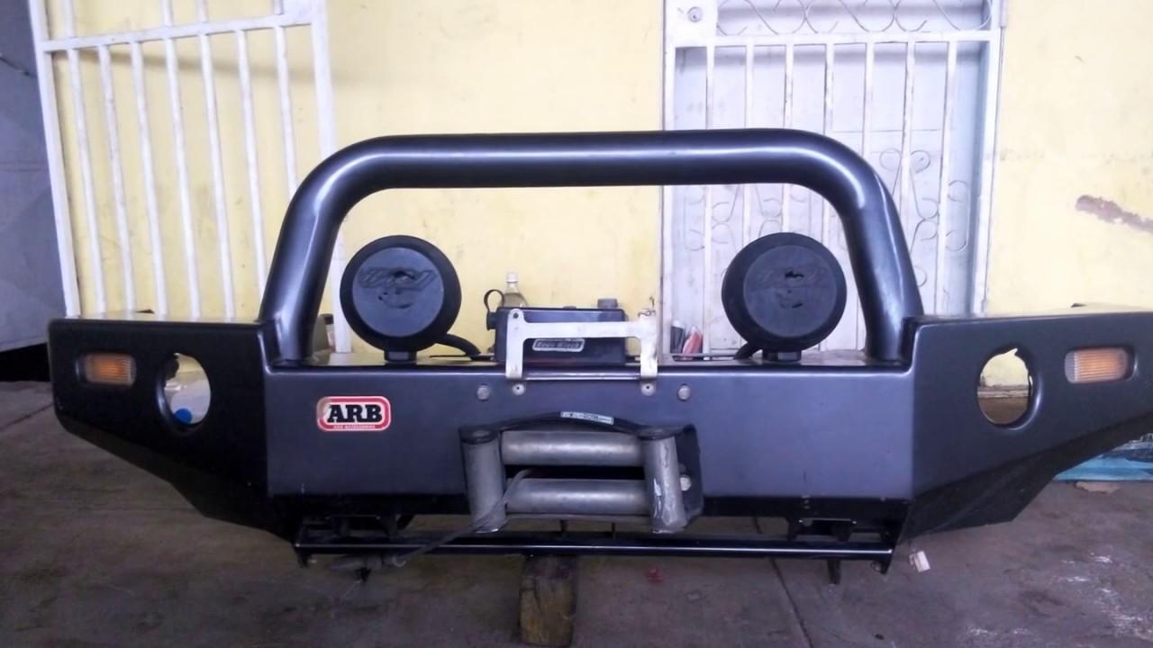 Jeep Wrangler Renegade >> Parachoques Mataburro ARB Con Winche 8500Lbs para Jeep Liberty KJ Mercado Libre - YouTube