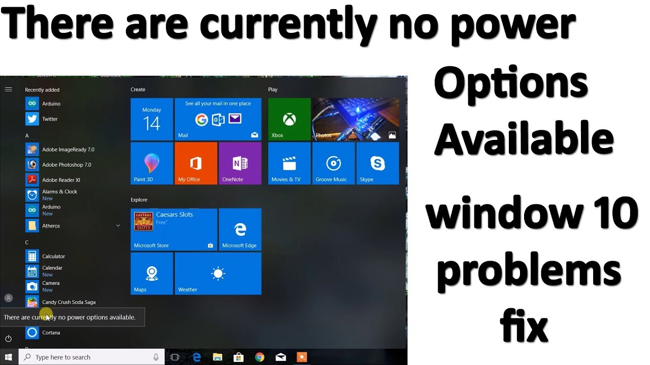 There are currently no power options available windows 10 pro fix