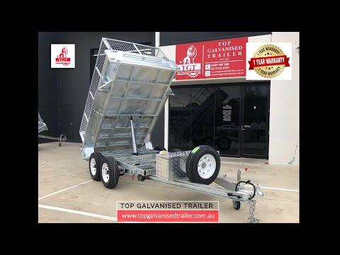 10x5 Galvanised Hydraulic Tipping Trailer, 3.5 TON ATM With Cage