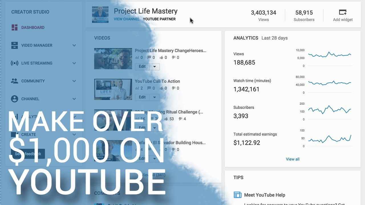 How To Make Over $1,000 Per Month On YouTube - YouTube