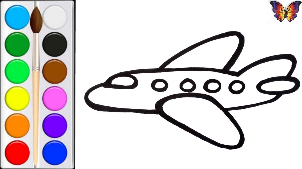 Как нарисовать САМОЛЕТ / мультик раскраска САМОЛЕТ для ...