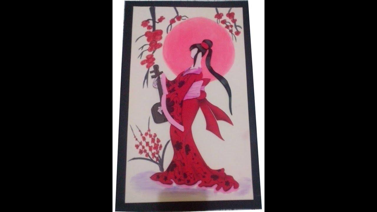 Cuadro geisha en goma eva youtube - Cuadros para cabecero de cama ...