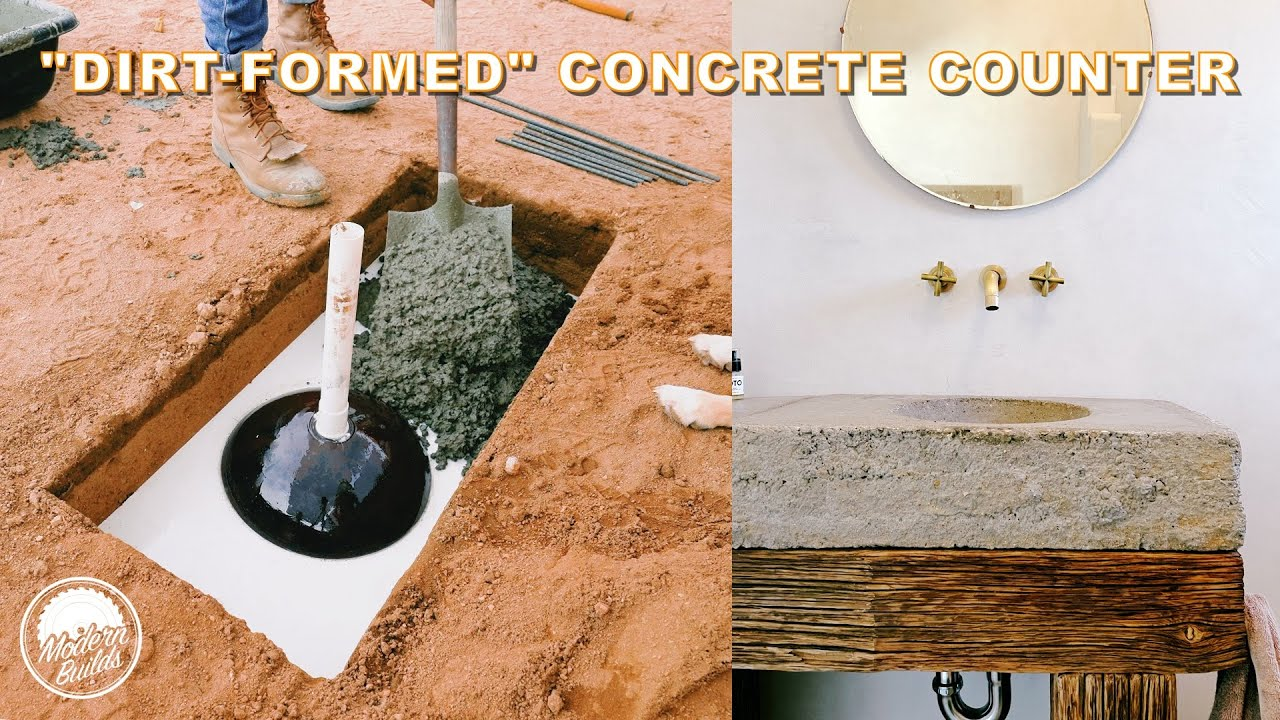 "DIY ""EARTH-FORMED"" CONCRETE & RECLAIMED BEAM VANITY | Modern Builds"