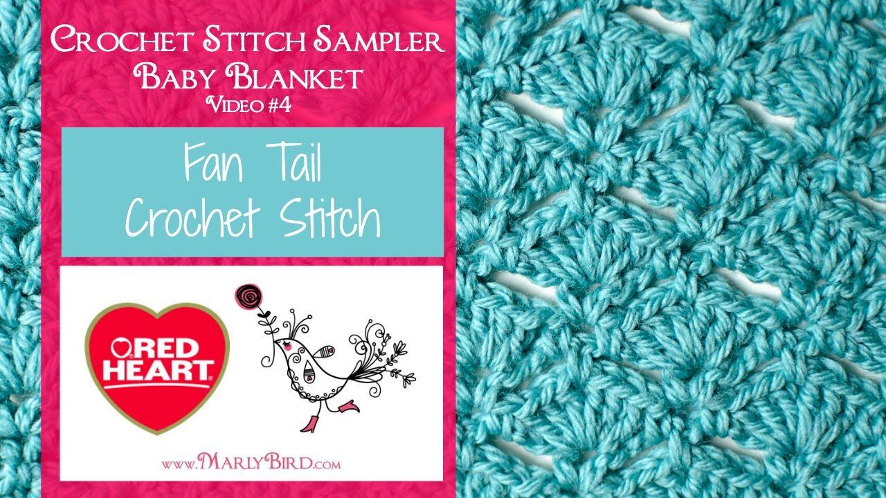 Fan Tail Stitch Crochet Stitch Sampler Baby Blanket Video 4 Youtube