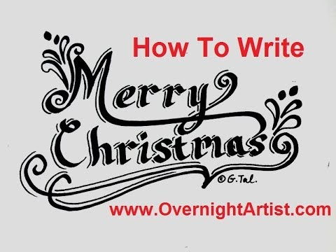 Write Merry Christmas Fancy Letters Speed Tutorial - YouTube