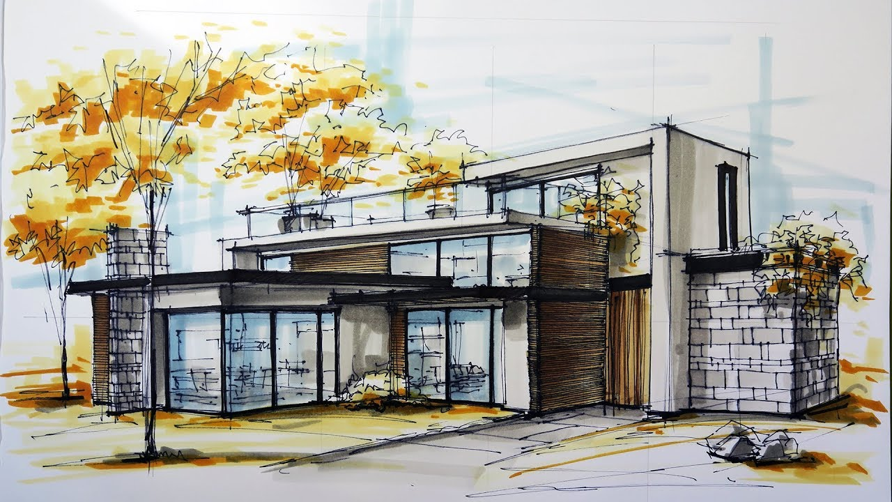 architectural sketching house 6  YouTube