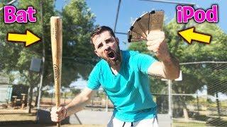 How Far Can I Hit An iPod With A Baseball Bat? IRL Baseball Challenge