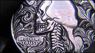 Quarter Dollar Skull Scroll work Hobo Nickel