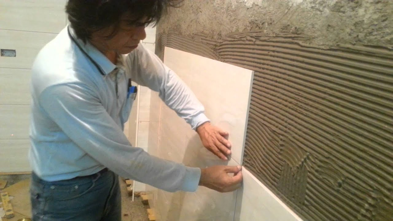 Tile Installation on Brick Wall Process, Part 1 - YouTube