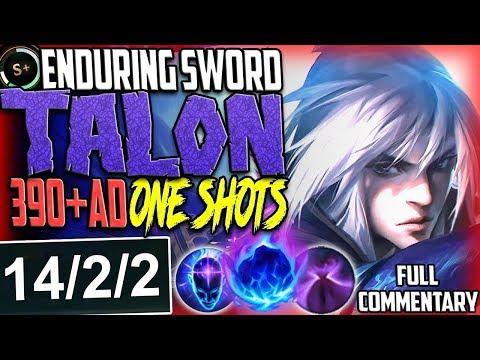 NEW SKIN ENDURING SWORD TALON TOP LANE 390+AD ONE SHOTS | AMAZING DMG | Talon Season 8 PBE Gameplay