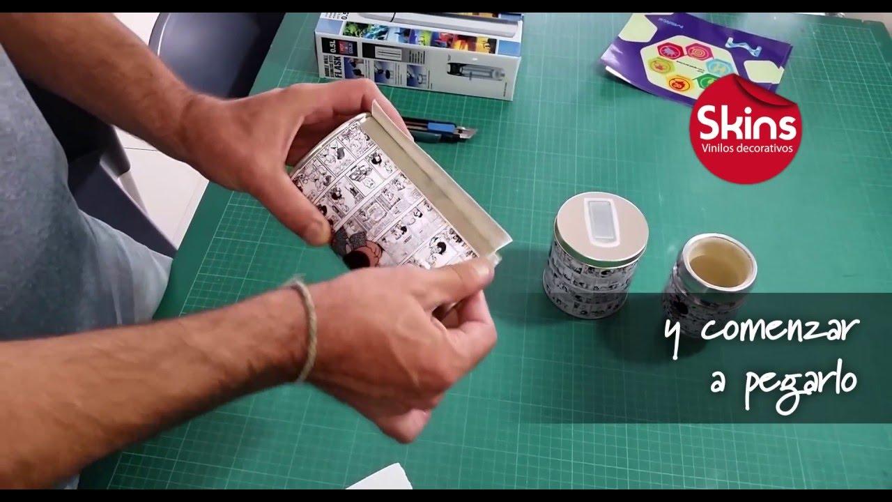 Pegar vinilo sobre yerbera youtube for Como pegar plastico