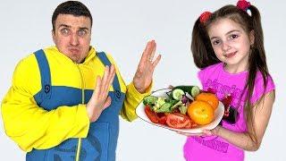 Masha prepares healthy food for dad