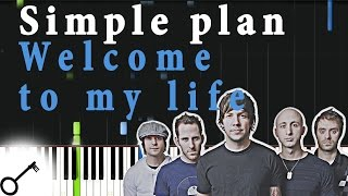 Simple plan - Welcome to my life [Piano Tutorial] Synthesia | passkeypiano