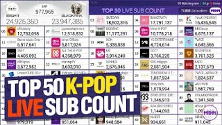 TOP 50 K-POP Youtube Live Sub Count - BTS,BLACKPINK & More!