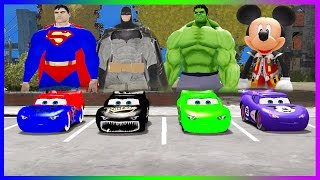 Disney Pixar Cars Colors Lightning McQueen Superman Batman and Hulk Mickey Mouse