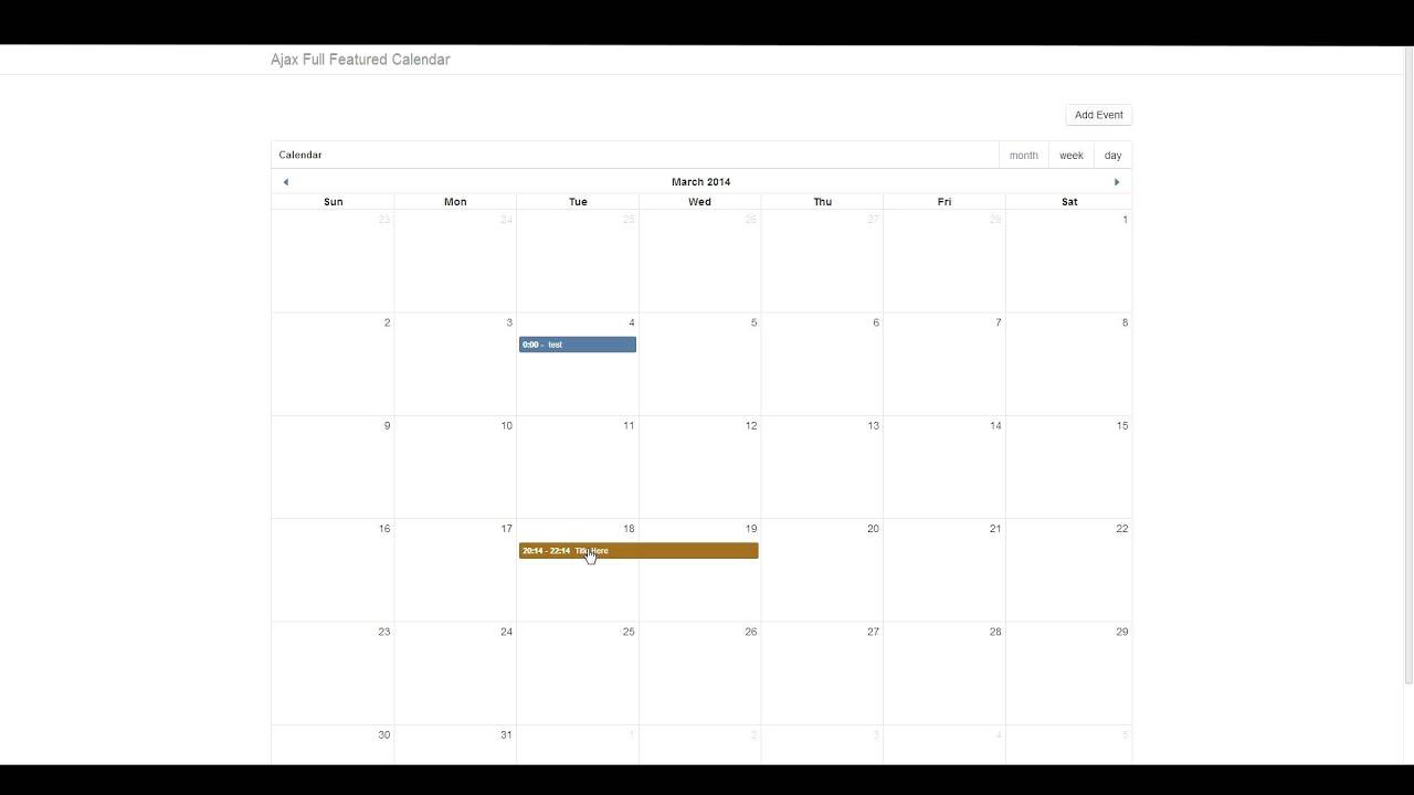 Ajax Full Featured Calendar (fullcalendar) - 3 Viewing Event