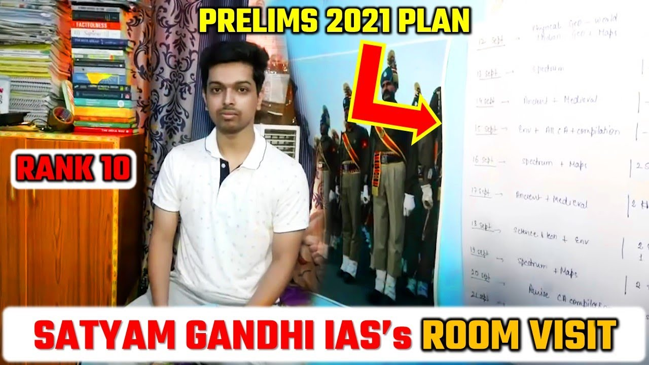 UPSC TOPPER 2021   SATYAM GANDHI IAS (AIR-10)   ROOM OF AN IAS TOPPER
