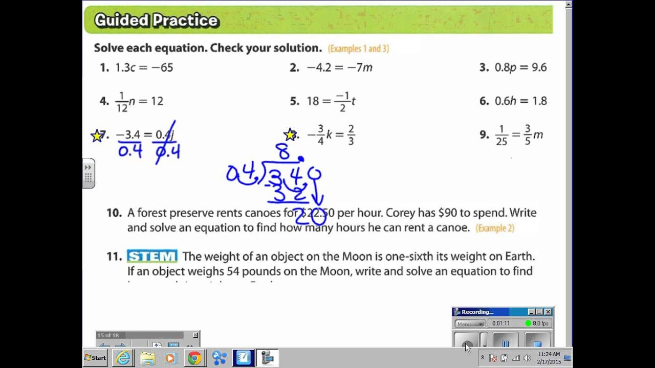 Lesson 1 Solve Equations With Rational Coefficients Answer ...