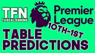 2017-18 Premier League Final Table Predictions | 10th to 1st - FalseNine Thinks