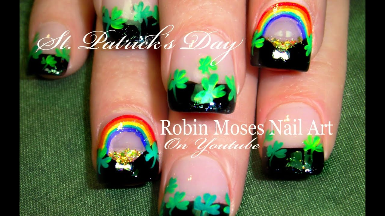St. Patricks Day Nails | Rainbows and Pot of gold Shamrock Nail Art ...