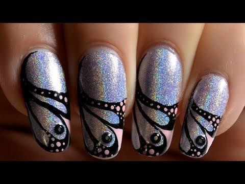 nail art french manucure ailes de papillon noir et rose. Black Bedroom Furniture Sets. Home Design Ideas