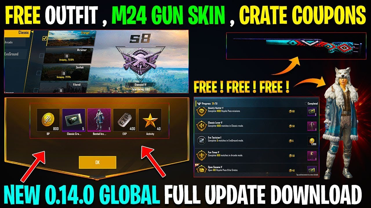 0.14.0 Pubg Mobile Global Update Is Here | 0.14.0 Update Pubg is Here | Free M24 GUN SKIN AND OUTFIT