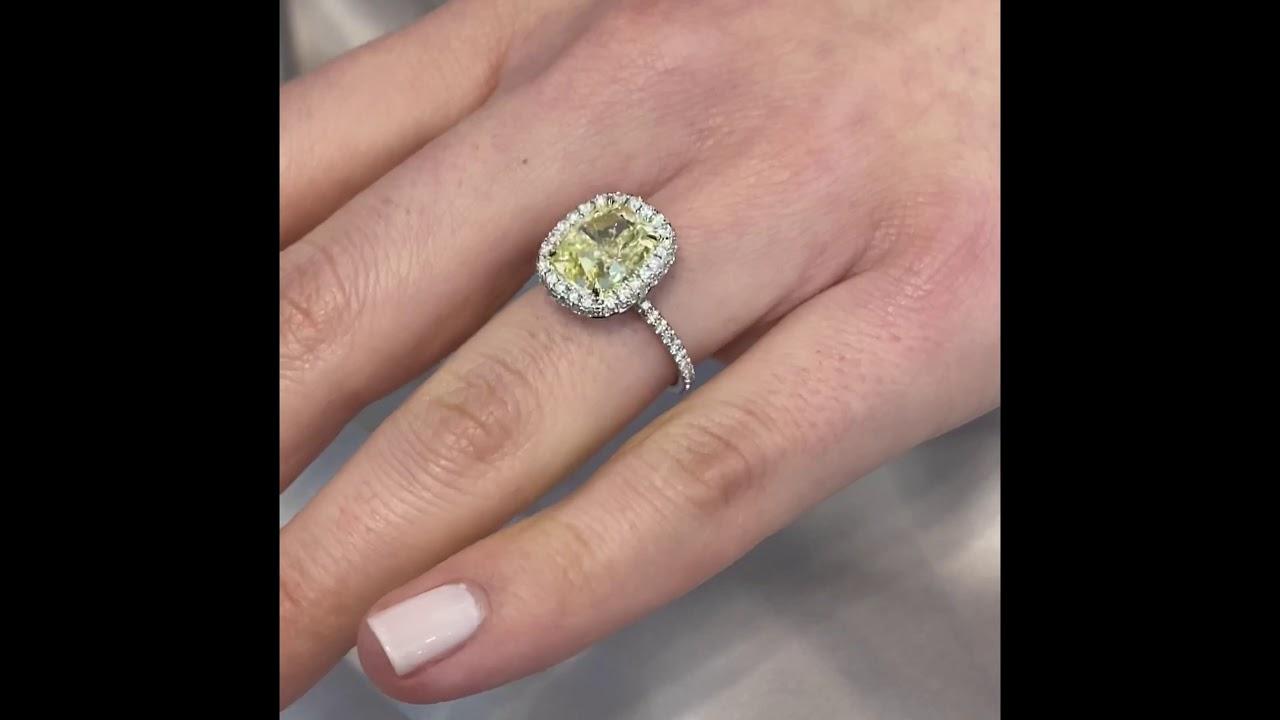 4.5 ct Light Yellow Diamond Halo Engagement Ring
