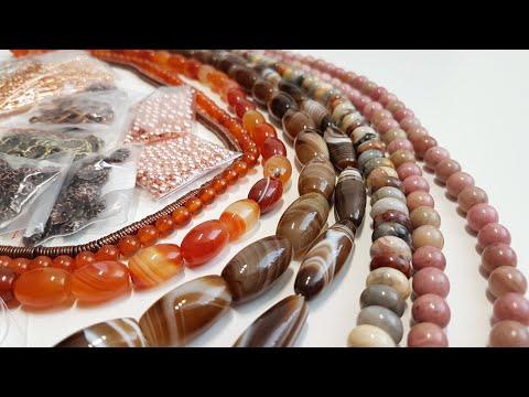 Натуральные камни (агаты, родонит, гематит) и фурнитура для бижутерии с Aliexpress