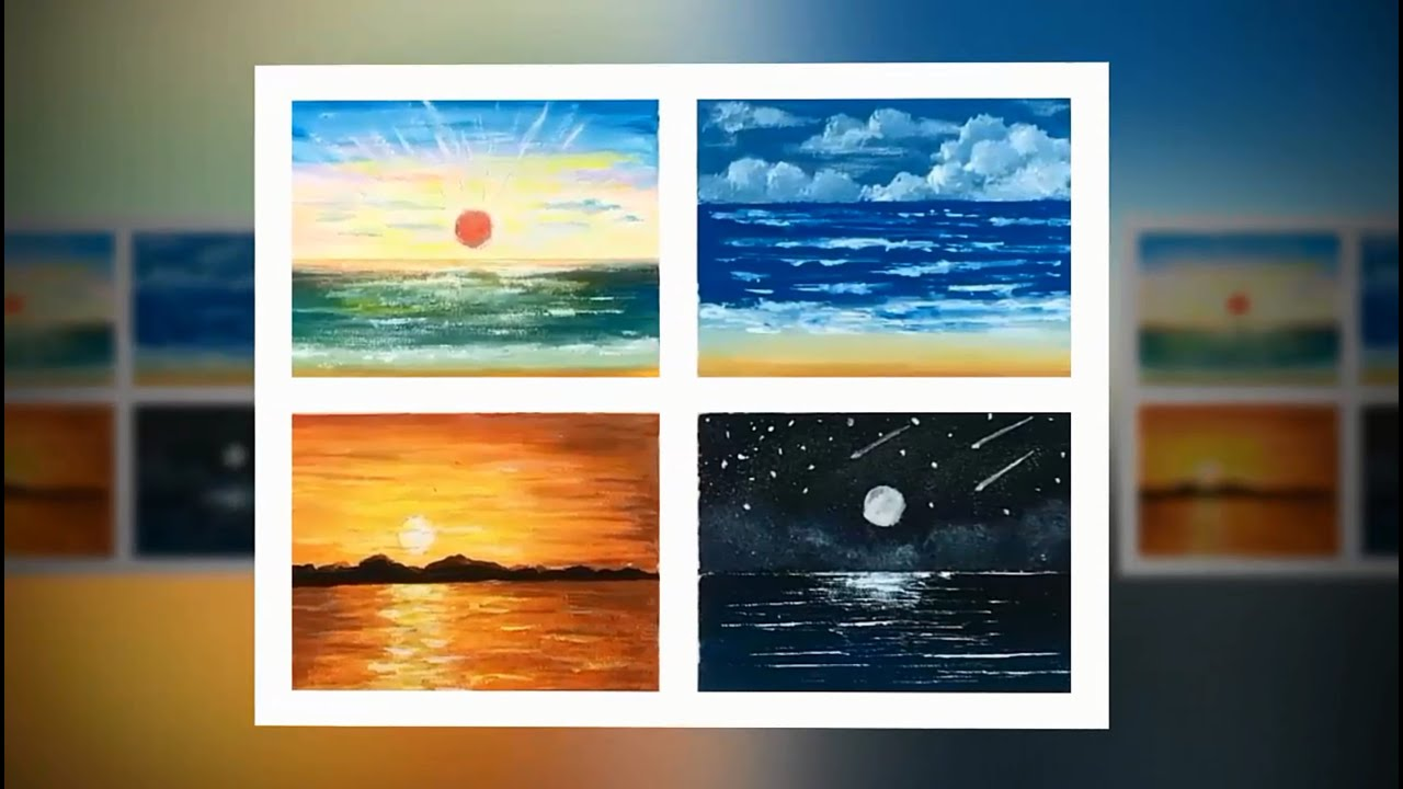 Bộ 4 tranh phong cảnh biển / Set of 4 paintings of sea landscapes / Daily relaxation art #25