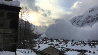 Avalanche hit a village in french Alps